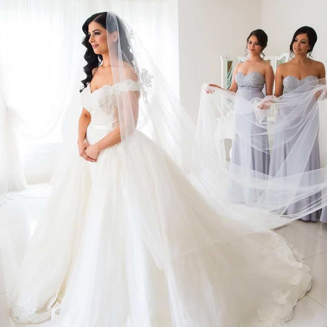 Detachable Train White/Ivory Lace Wedding Dresses Bridal