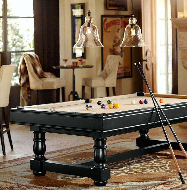 Pb turned leg pool table berry black finish with charcoal felt pottery barn turned leg pool table greentooth Image collections
