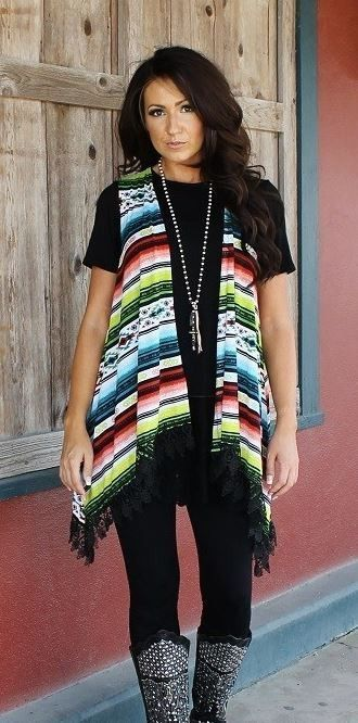 Serape Vest with Black Lace S-3XL