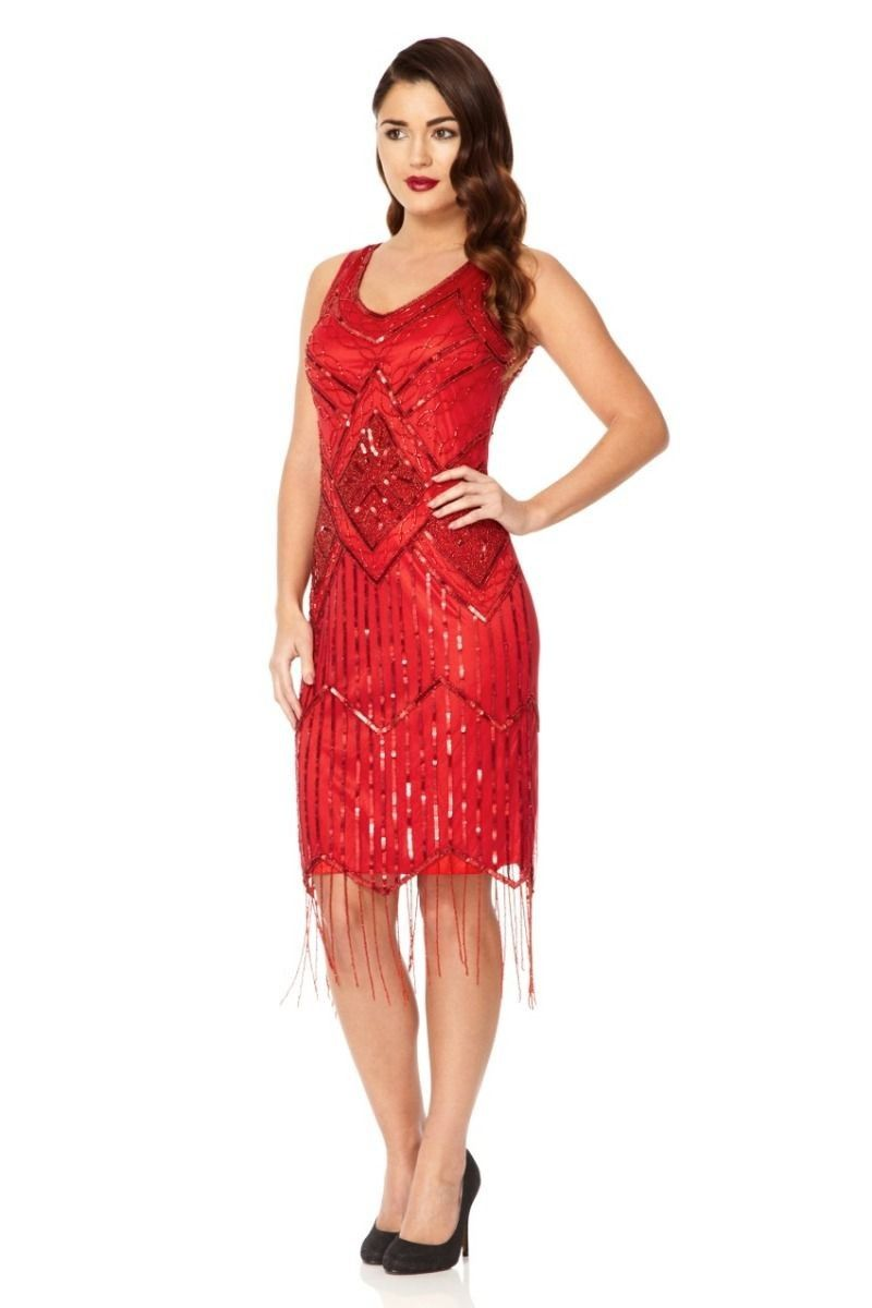 Art Deco Style Fringe Party Dress in Red | Pinterest