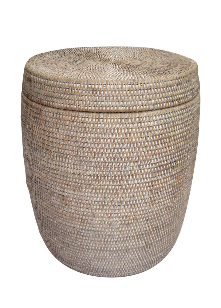 RATTAN DRUM STOOL U0026 LID   OR SIDE TABLE WHITEWASH Storage/Laundry Basket  Cane