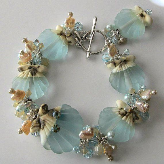 Lampwork Seashell Bracelet Aqua Sand by PacificJewelryDesign