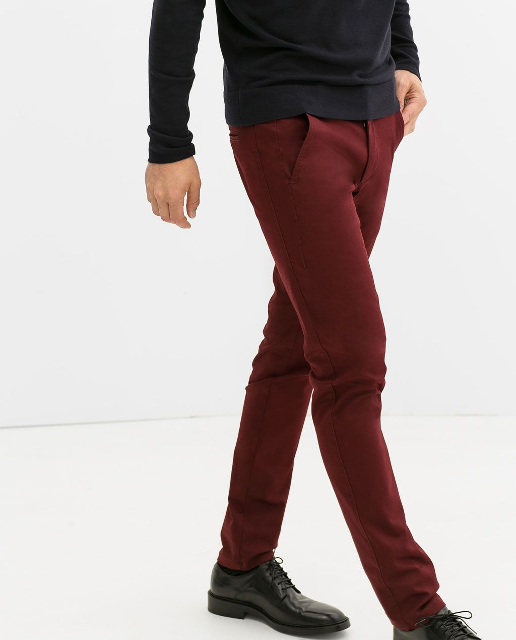 ce88eff2 ZARA - MAN - BASIC CHINO TROUSERS Burgundy Chinos, Zara Man, Men's Wardrobe,