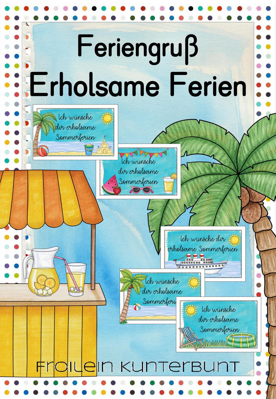 Feriengruß Erholsame Sommerferien – Unterrichtsmaterial im Fach ...
