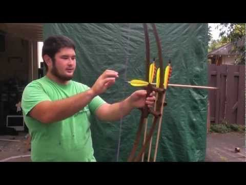 Shooting a Centershot Double PVC Bow With Built In Quiver