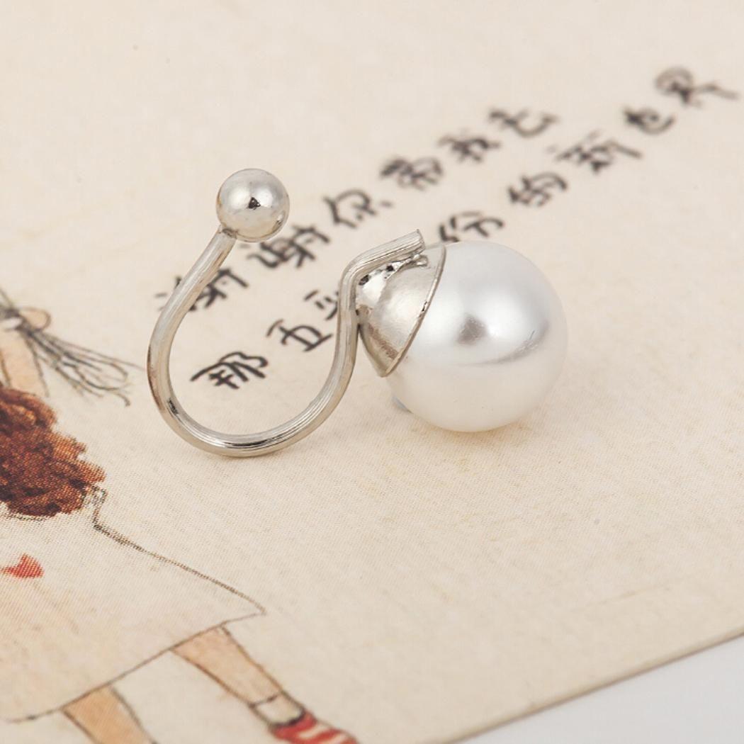 Casual Clip Round Pearl U Side Earrings Women Shape One Earrings