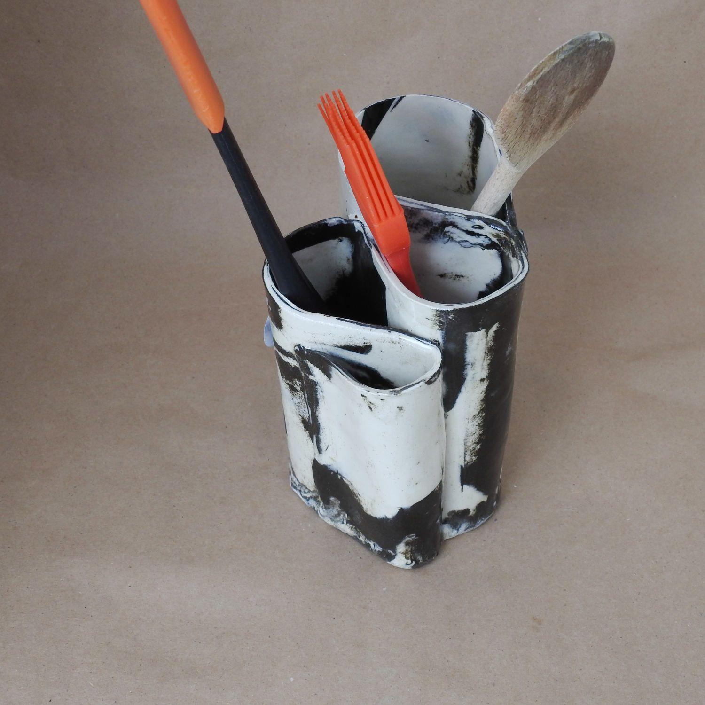 Toothbrush Holder, Black And White Handmade Pottery