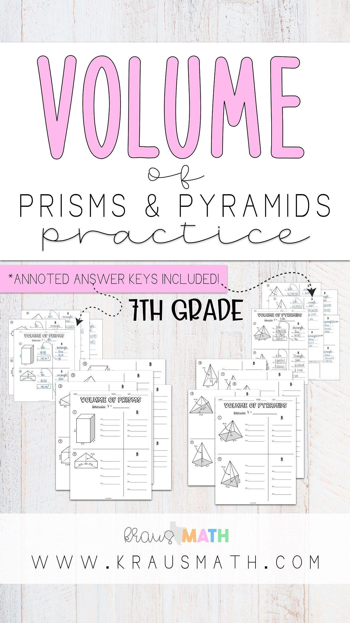 Volume Of Prisms Pyramids Worksheet Bundle Teks 7 9a Kraus Math Math Teks 7th Grade Math Math