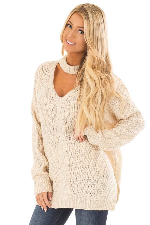 1c5f2c4205088 Ivory Cable Knit V Neck Sweater with Choker Band