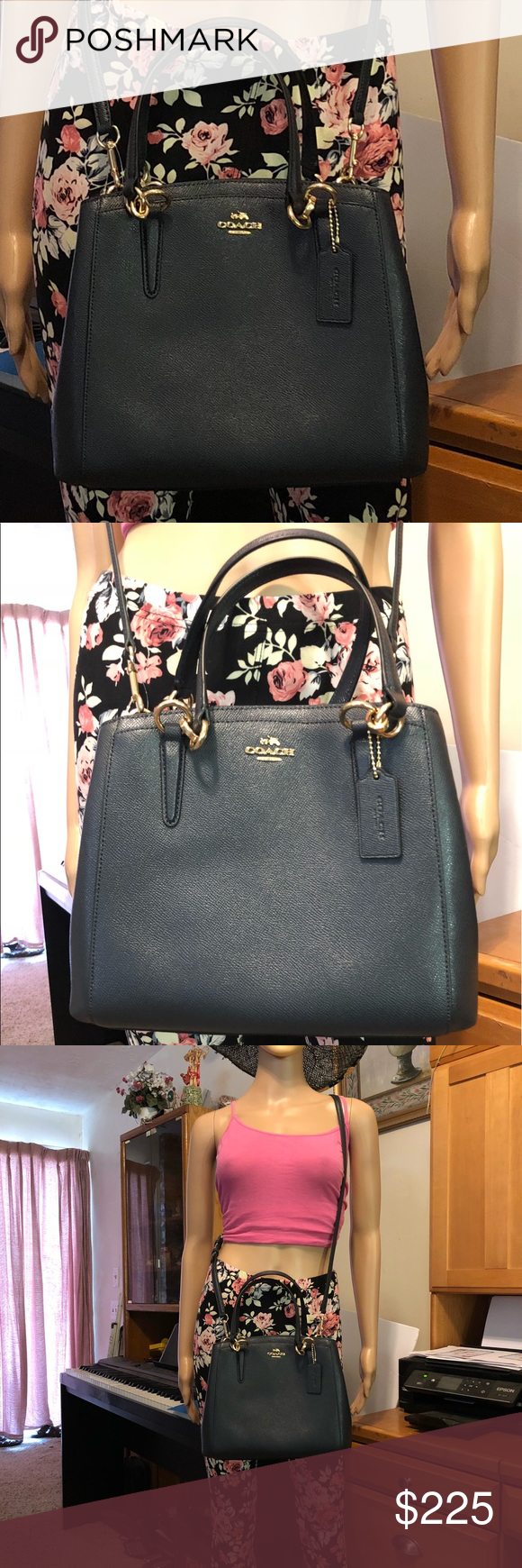 ef3204a785c19 COACH Crossgrain Leather Minetta Crossbody F57847 Color  Midnight  Crossgrain leather with silver toned hardware Top