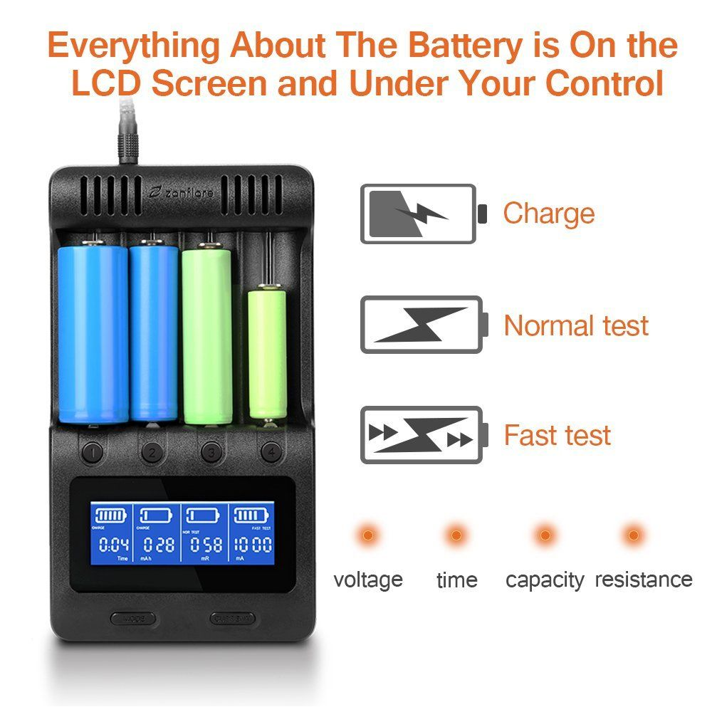 Lcd Display Speedy Universal Battery Charger With Car Adapter Zanflare C4 Smart Charger For Rec Rechargeable Batteries Universal Battery Charger Smart Charger