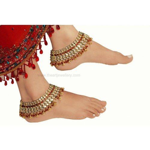 Red Kundan Bridal Anklets