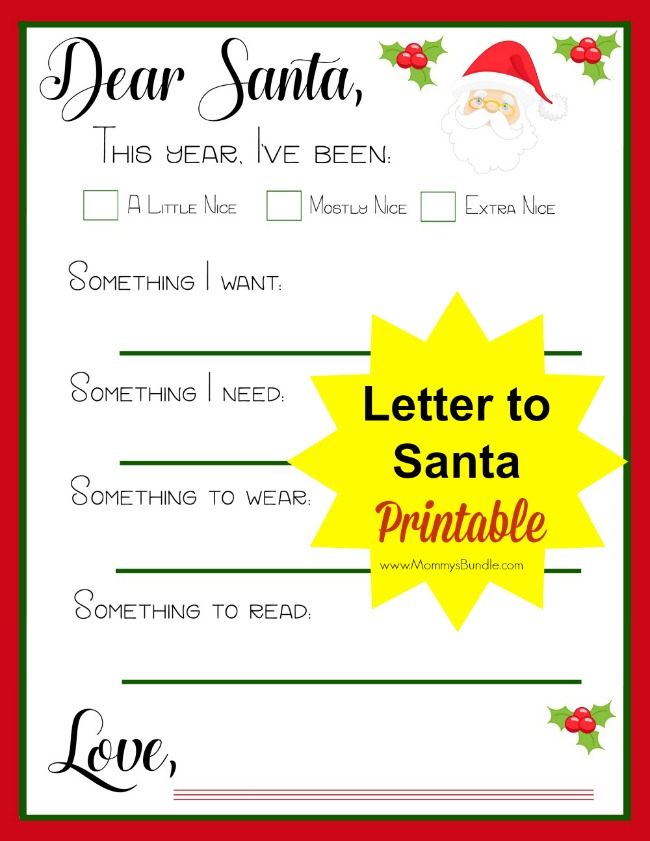 A Christmas Tradition of Letters to Santa Santa letter