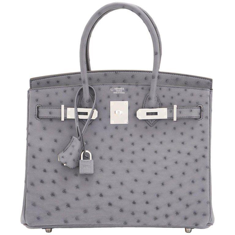 3d3625f13214 Hermes HSS Horseshoe Gris Agate Perle Ostrich Grey C Stamp Birkin 30 Bag
