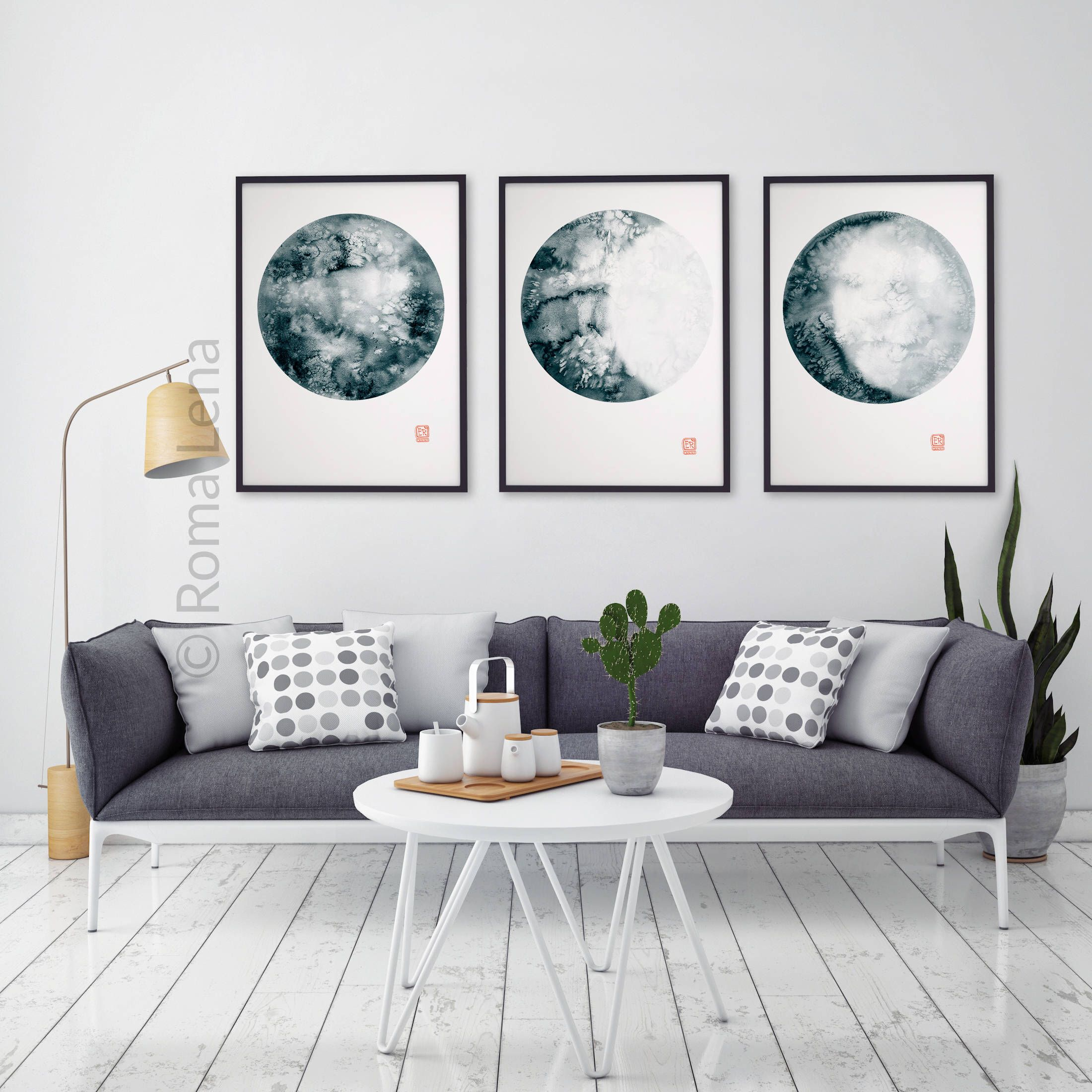 Hochwertig Moon Phase Watercolor Prints Blue Turquoise Cream Abstract Wall Decor Moon  Phases Watercolor Painting Set 3
