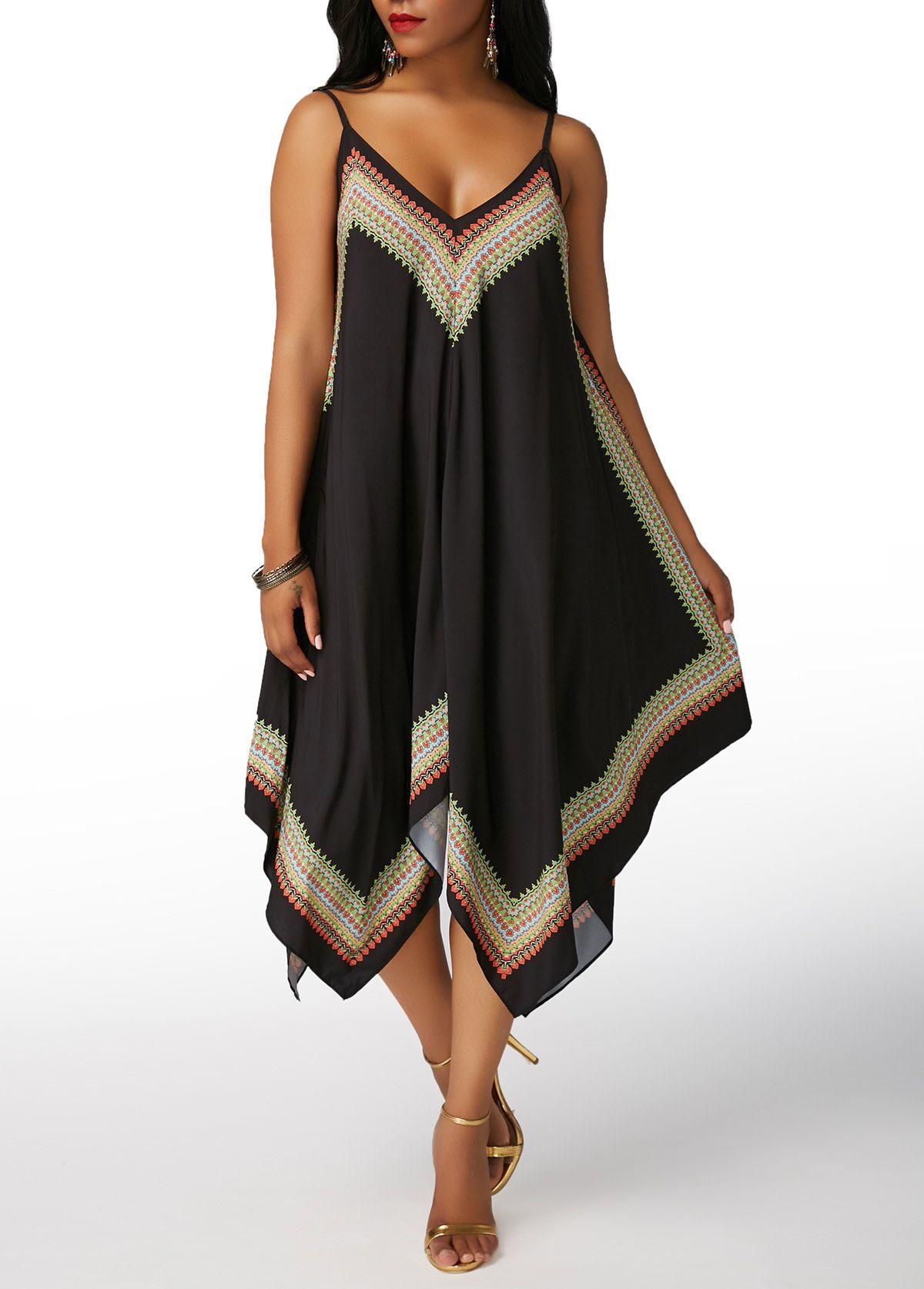 Printed open back asymmetric hem black dress on sale only us