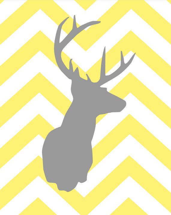 Yellow and Gray Nursery - Deer Silhouette with Chevron and Texas ...
