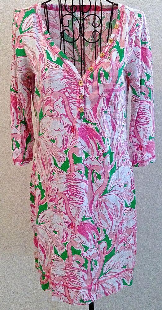 e4185fbaf9 Lilly Pulitzer Pima Cotton Sleepwear Night Shirt Dress Flamingo Print Size  S  LillyPulitzer  Sleepshirt