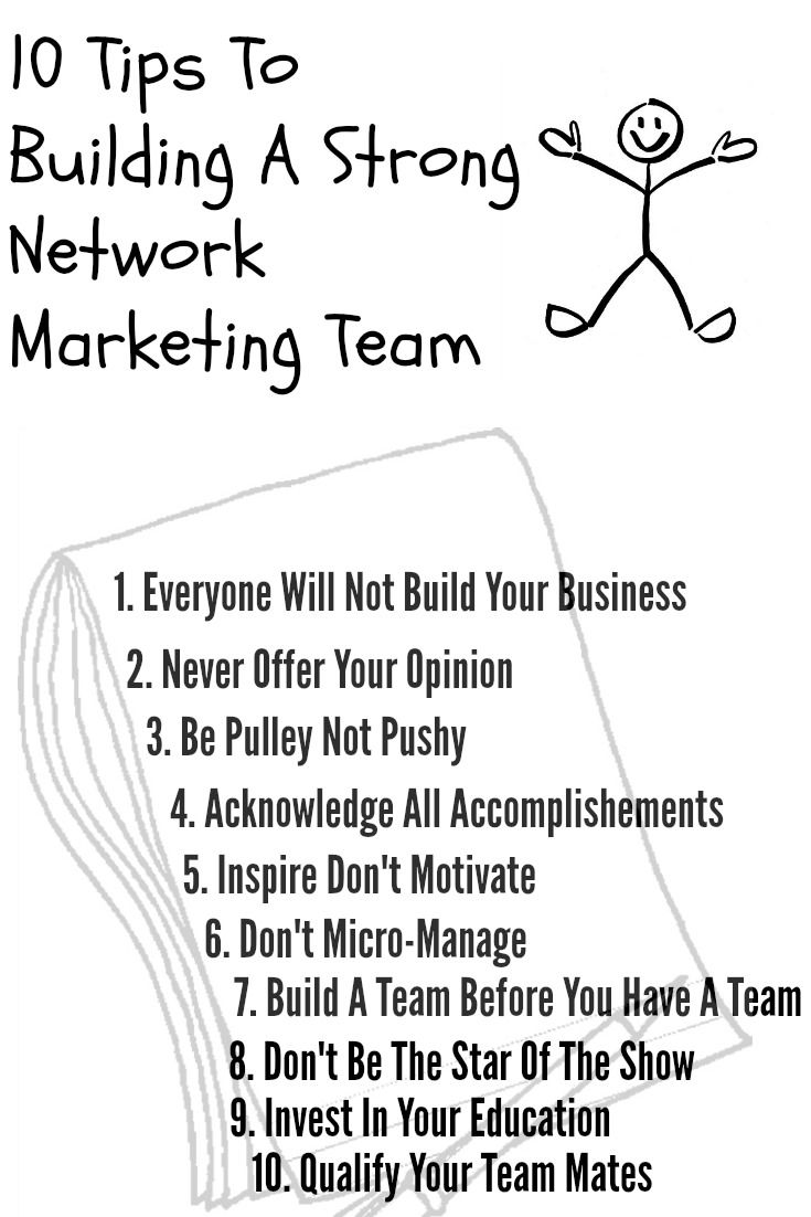 Are you frustrated building a strong network marketing team? In this blog post I share with you 10 Tips To Build a Strong Network Marketing Team. http://donnawildman.com/10-tips-on-building-a-strong-network-marketing-team #networkmarketingtips (scheduled via http://www.tailwindapp.com?utm_source=pinterest&utm_medium=twpin&utm_content=post125696151&utm_campaign=scheduler_attribution)