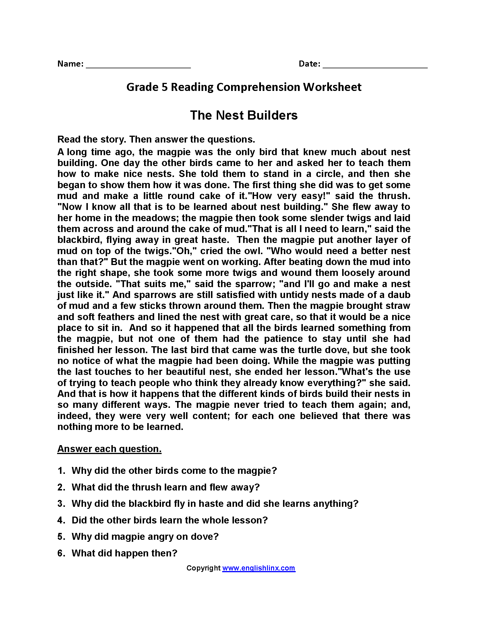 Nest Builders Fifth Grade Reading Worksheets