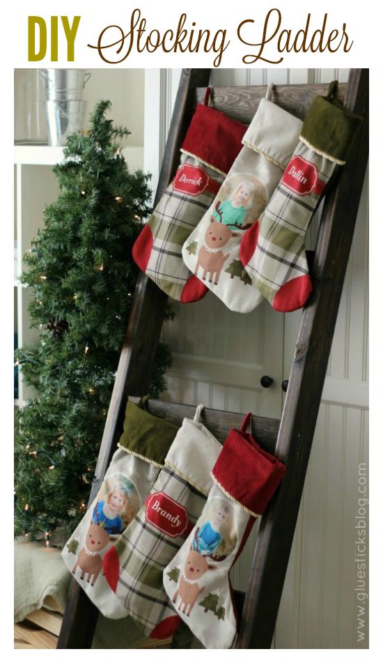 DIY Stocking Ladder Hanging christmas stockings