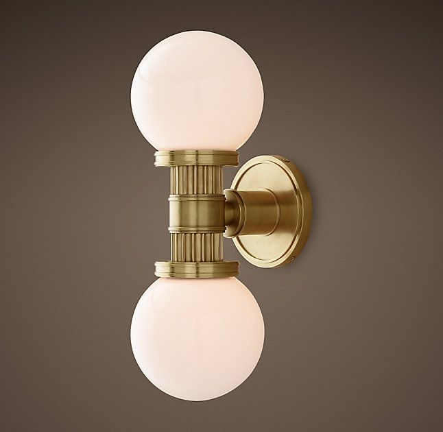 Rh 39 S Davenport Sconce Inspired By A 1920s Elevator Indicator Light Our Sconce Features A Fluted Column Connecting Sconces Wall Lights Lighting Collections