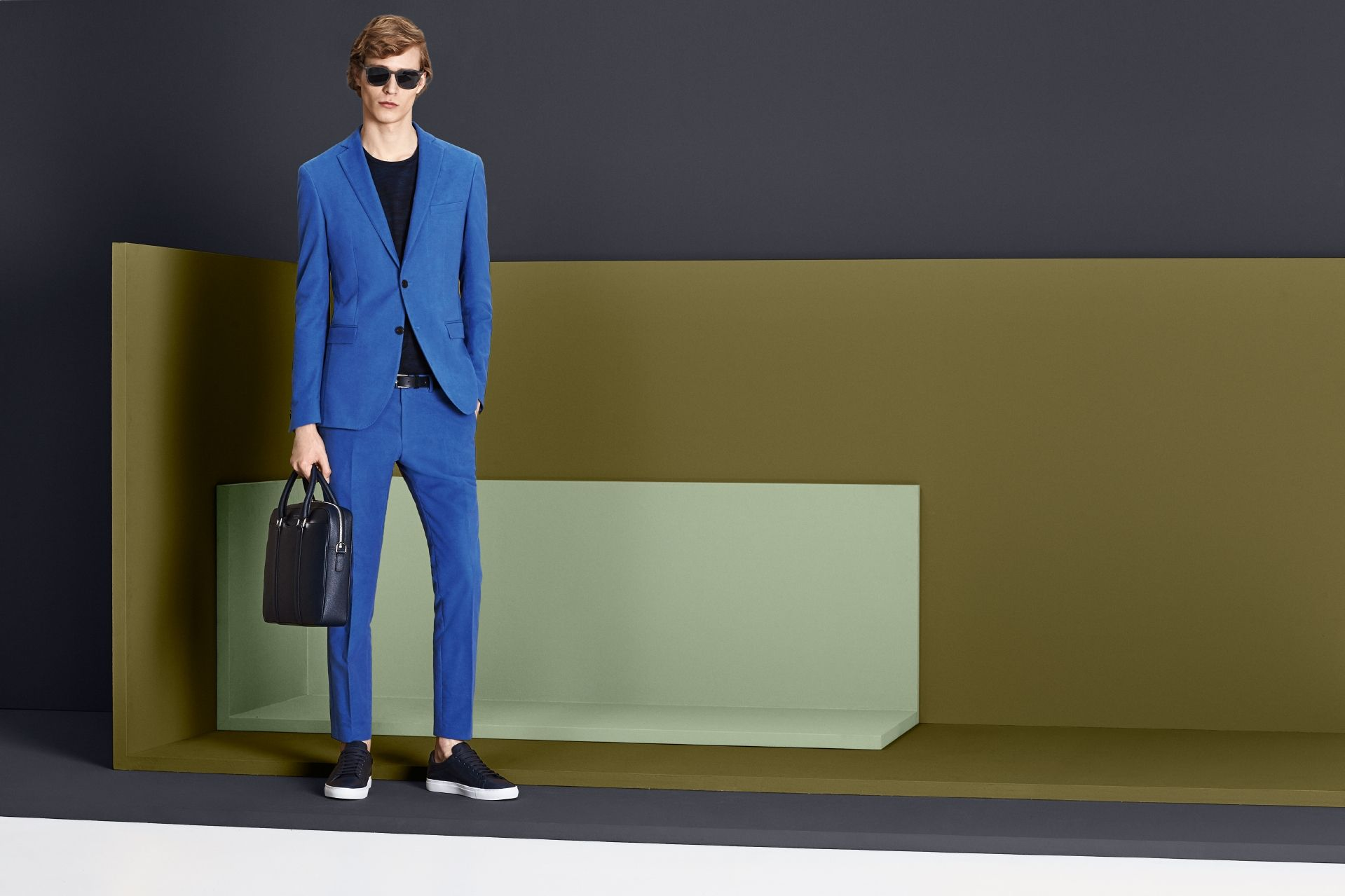 A shot of bright color adds new vibrancy to tailoring from the BOSS Menswear Fall/Winter 2016 collection