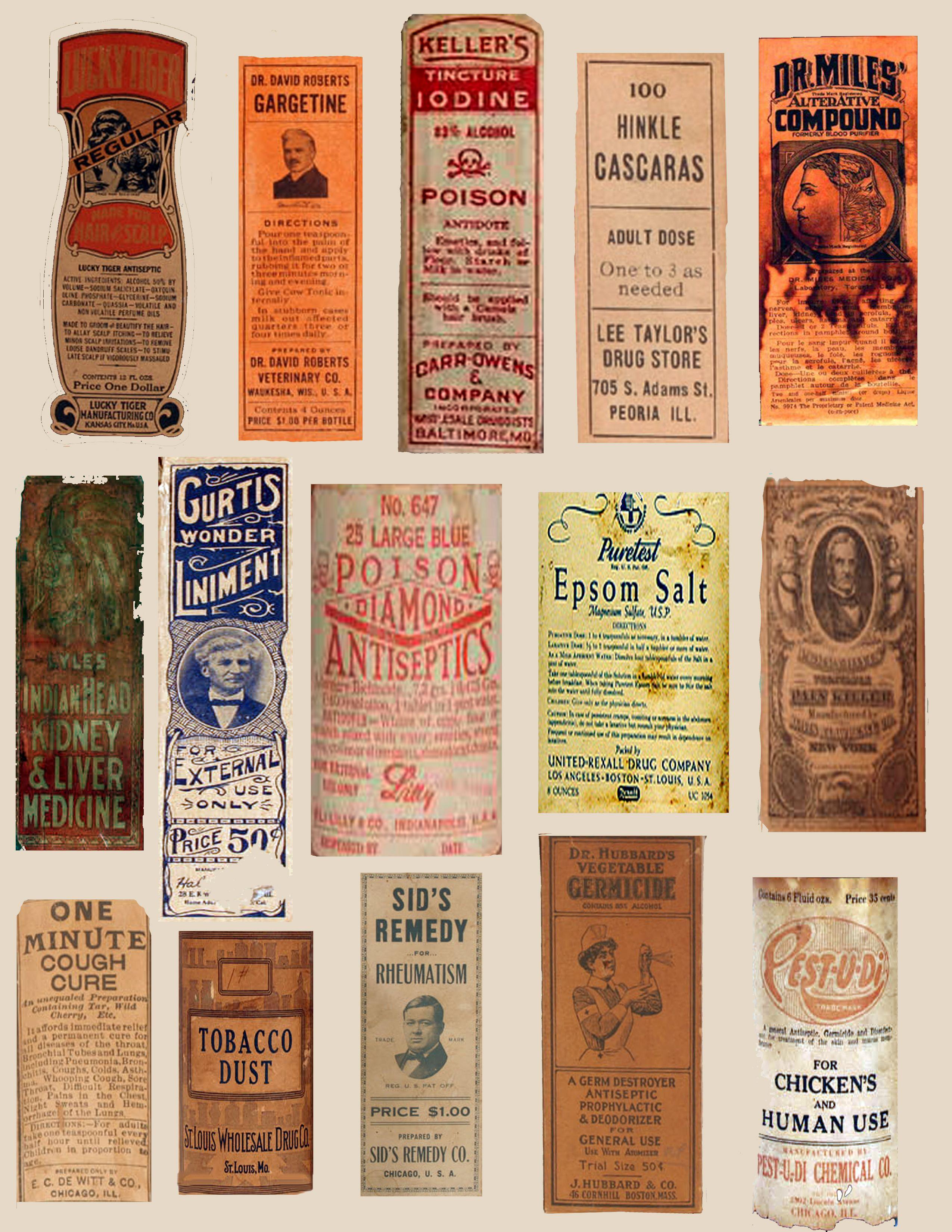 Favorite vintage medicine bottle labels (real) sheet 1 of 3 | specimens  YX57