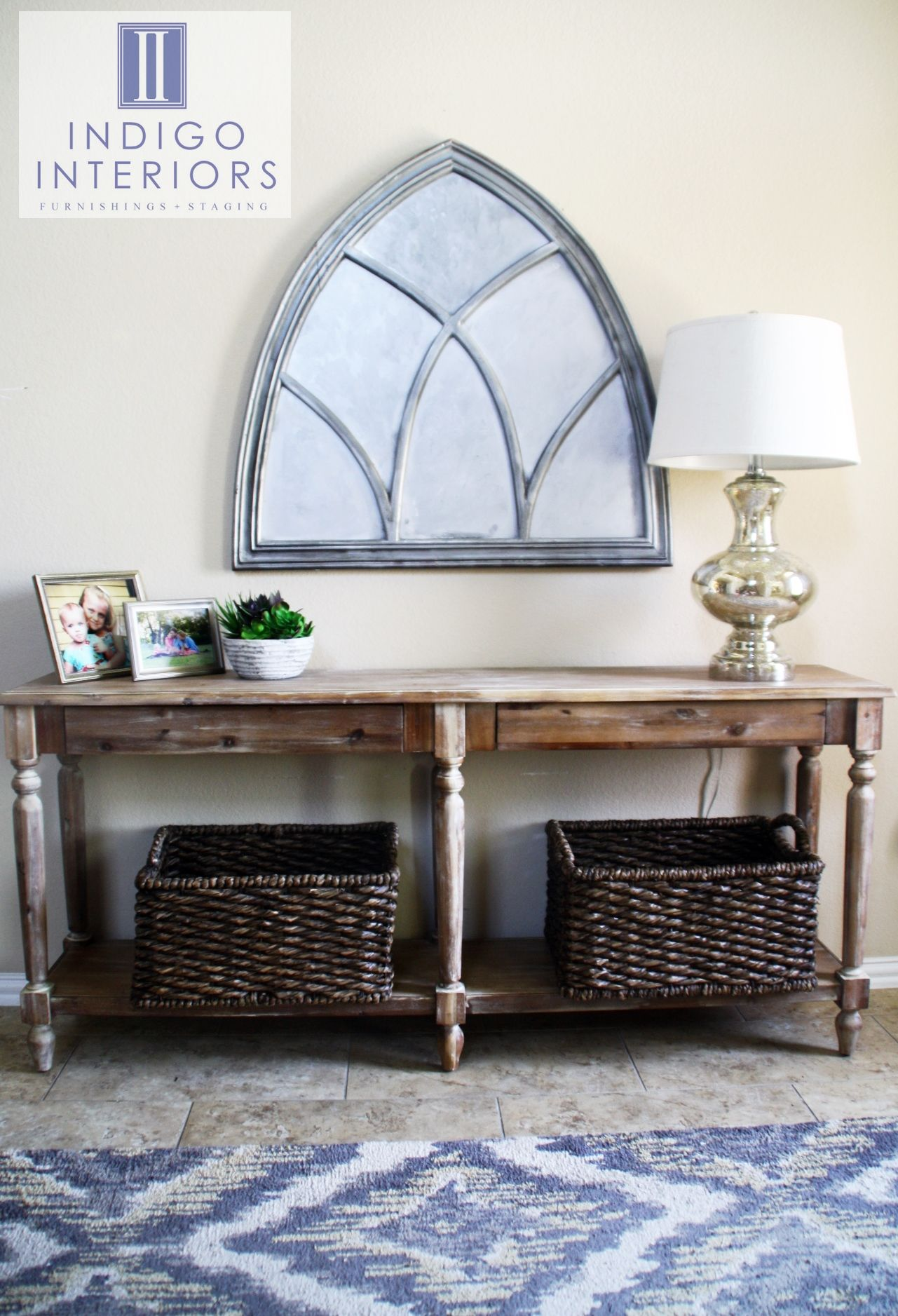 Entry Way With Everett Foyer Table From World Market And Carrie Thick Twist Baskets Weathered Gray Wash Table Ikat Rug Bas Foyer Table Decor Foyer Furniture