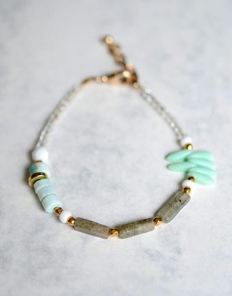 Modernes+Opal+&+Moosquarz+Armband+von+onePOMEgranate+auf+DaWanda.com