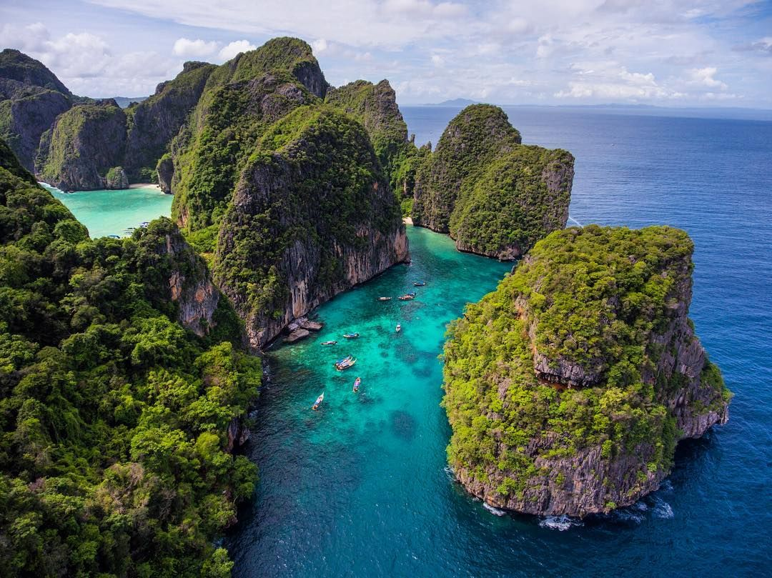 An aerial view of Loh Samah Bay at Koh Phi Phi Leh in Thailand ...