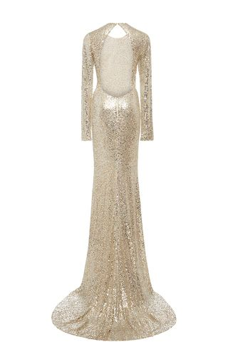 a365874cea5d2 Long Sleeve Sequined Gown | i wish... | Gowns, Wedding dress sleeves ...