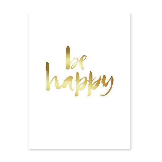 Design-Poster \u0027Happy Gold\u0027 30x40 cm Goldaufdruck Motiv Spruch - glasbilder für küche