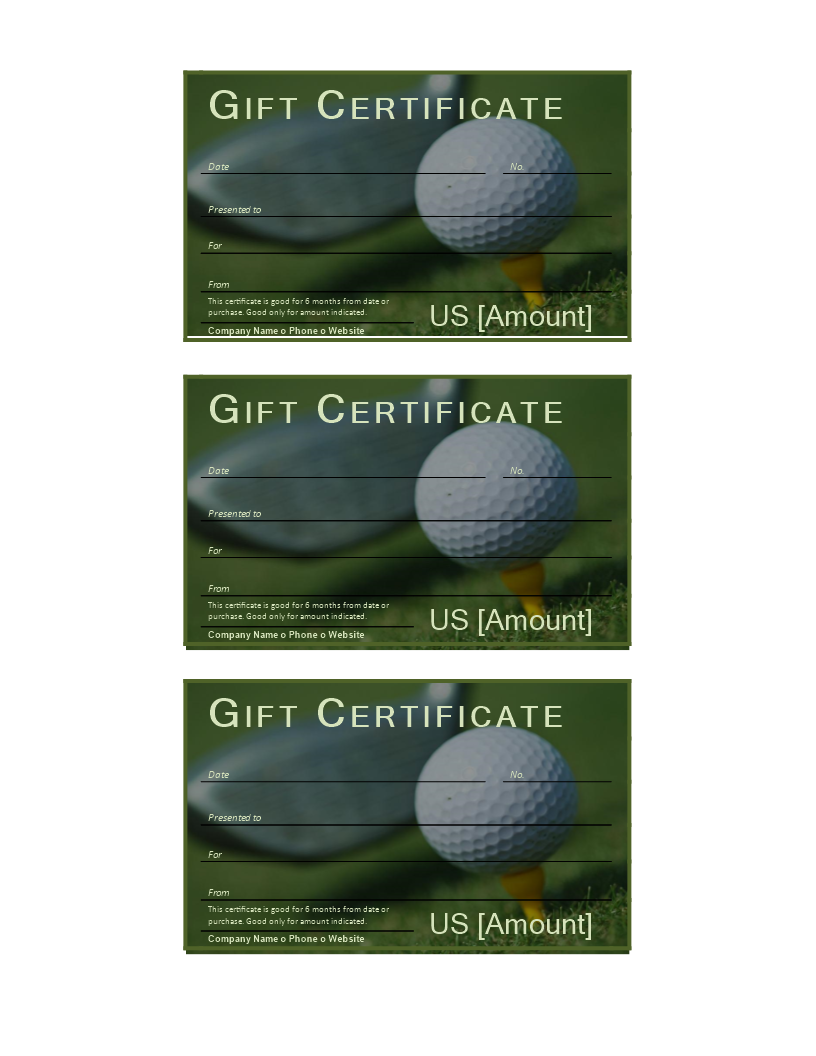 Golf Gift Certificate - Download this free printable golf ...
