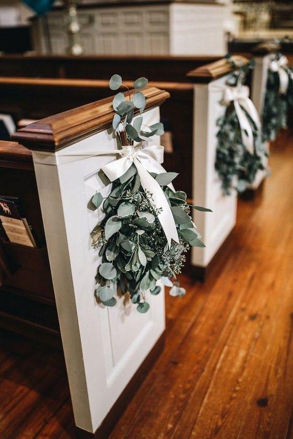 18 Church Pew Ends Wedding Aisle Decoration Ideas to Love - EmmaLovesWeddings #ceremonyideas
