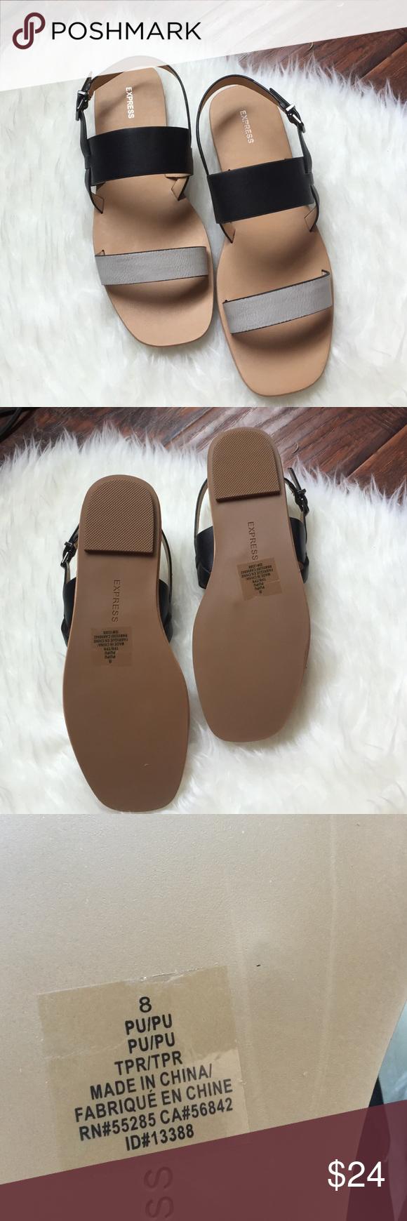 3e904d4b1758eb 💝HP 9-16-16💝Express Sandals👡 💝Casual Friday HP💝Express Black   Gray  Sandals💝👡 Express Shoes Sandals