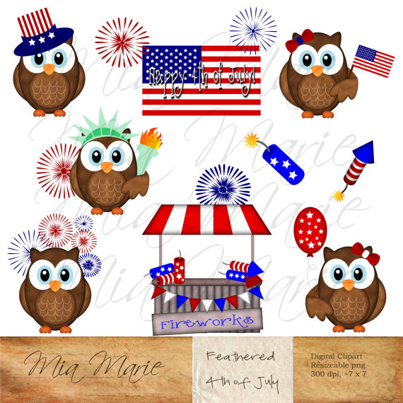 Patriotic owl. Instant download digital clip