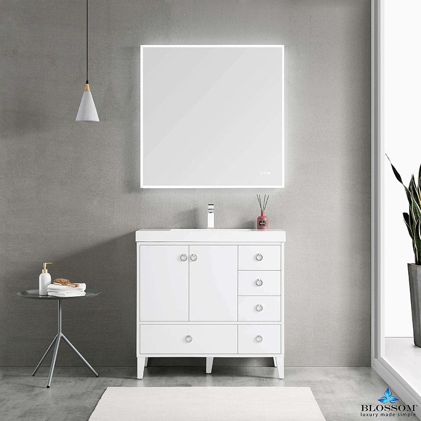 Blossom Lyon 36 Color Matte White Freestanding Bathroom Vanity Single Bathroom Vanity Bathroom Vanity Bathroom Vanity Base