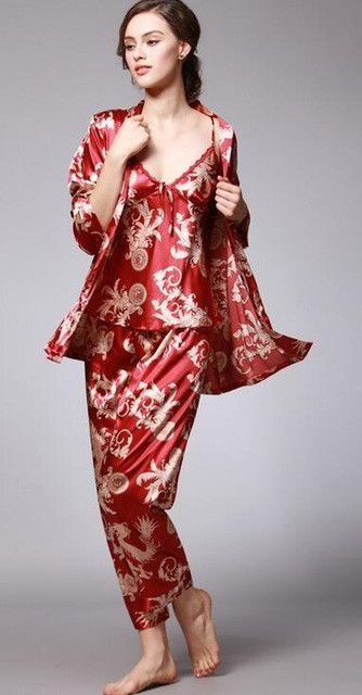 Fashion Men Robes Women Pajama Sets Faux Silk Sexy Couple Home Sleepwears  Pajamas Printed Pattern Long Sleeve Men  s Bathrobes 3e351780f