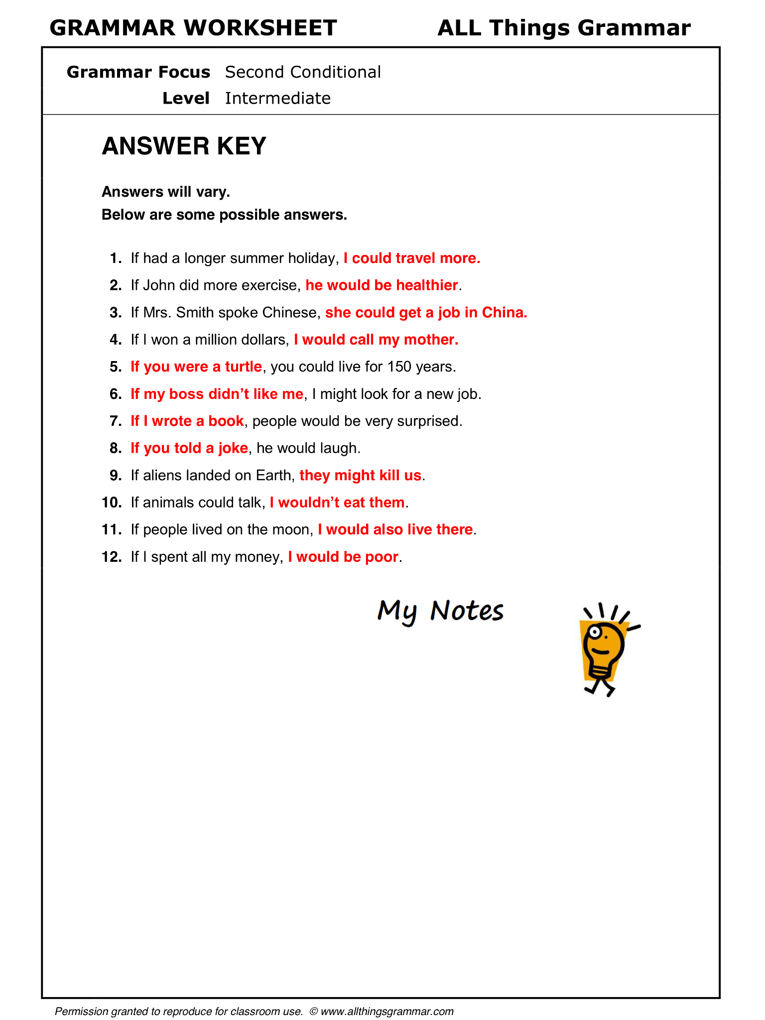 English Grammar Second Conditional Lthingsgrammar