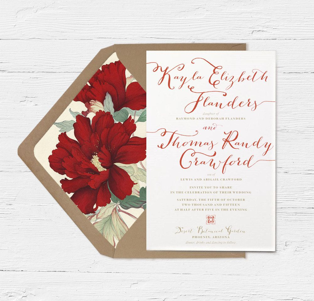 Calligraphy Wedding Invitation in Red by oakandorchid on Etsy ...