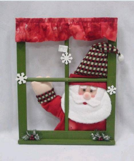 christmas window decorating christmas decorations swing hand singing santa window frame christmas