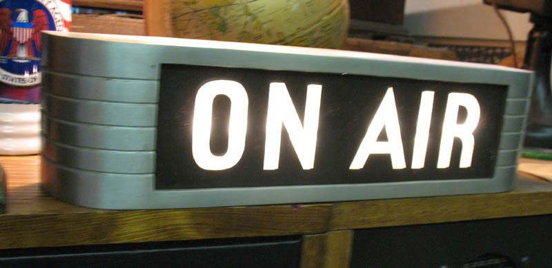 1930s On Air sign made of vintage machined aluminum from WBT