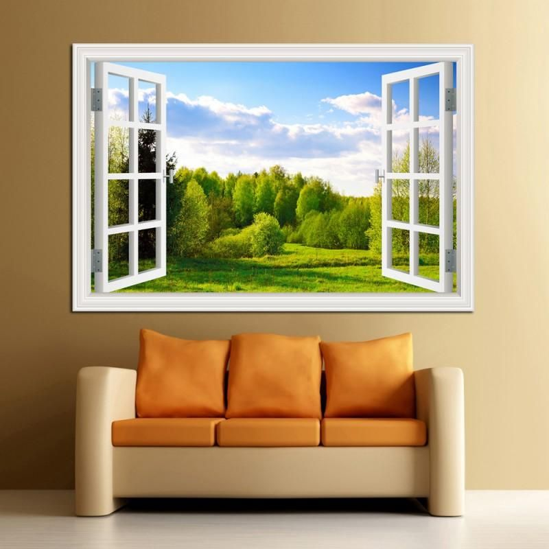 Trees in Sun Autumn Theme 3D Window Effect Self Adhesive Wall Sticker Art Dec...