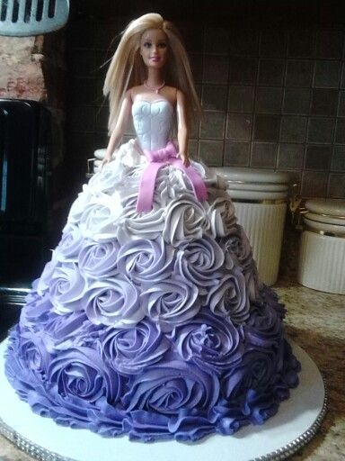 Ombre Rosette Doll Cake Princess Barbie Dolls Barbie