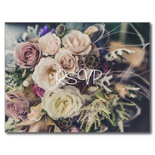 Vintage Pink Rose Wedding RSVP with Photo and Menu Postcard