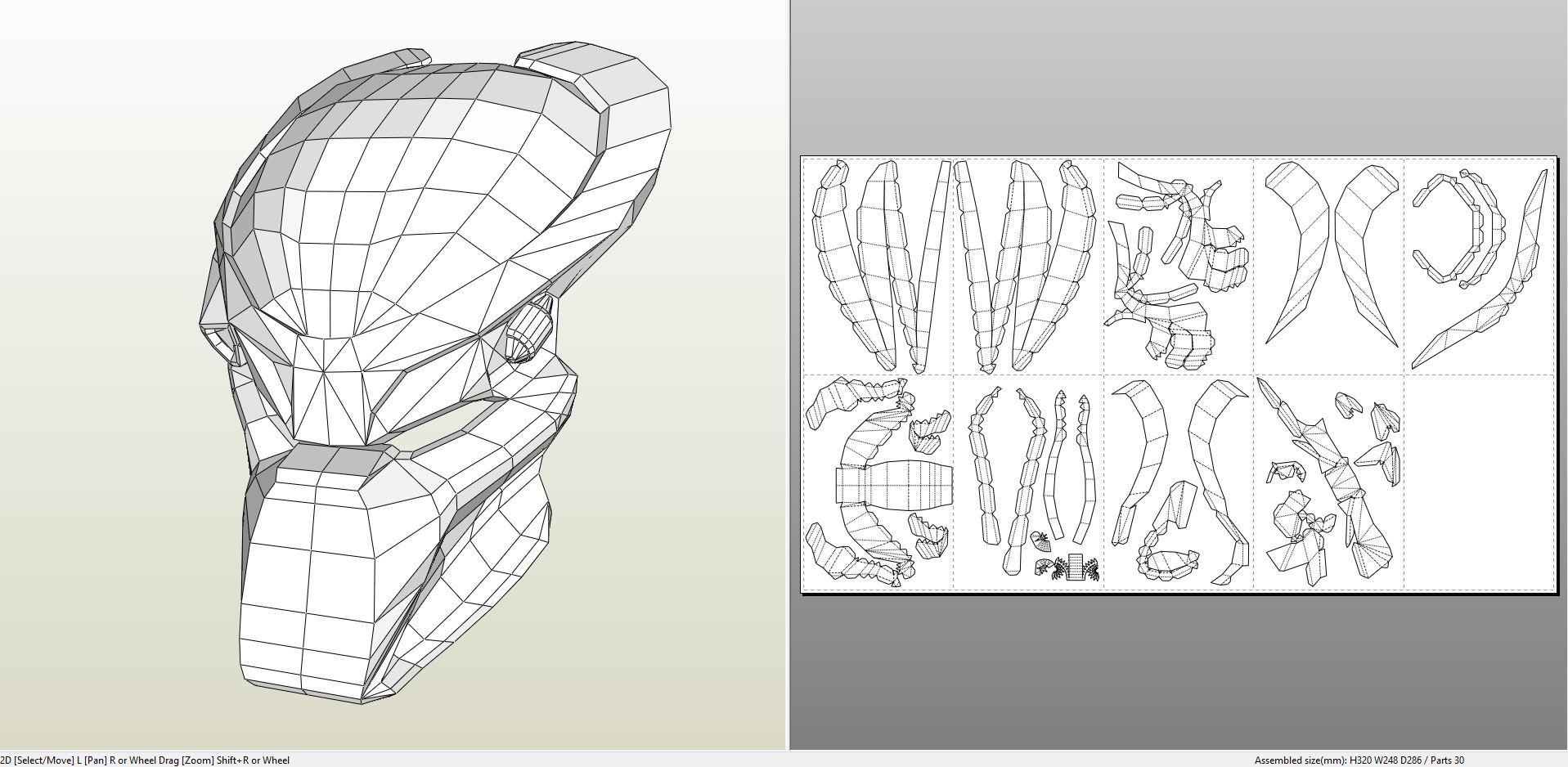 Papercraft Pdo File Template For Alien Predator Mask