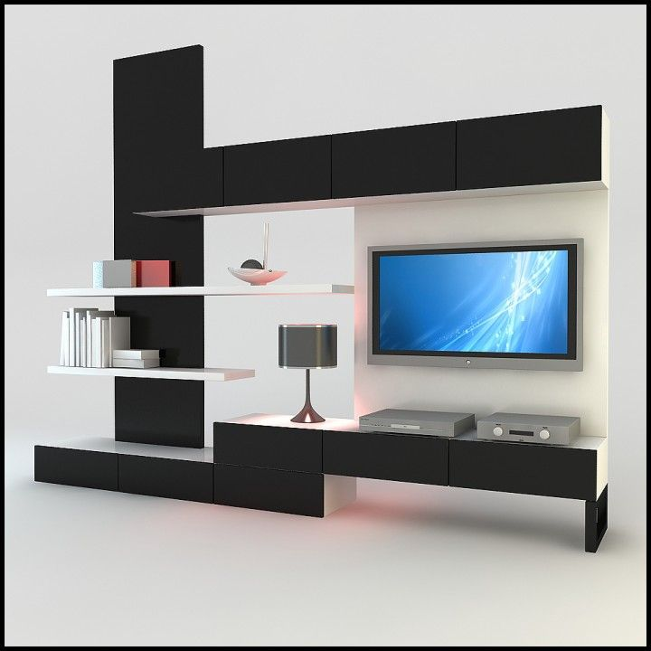 Furniture Elegant Wall Unit Design Ideas With Wood Material Black And White Color Scheme