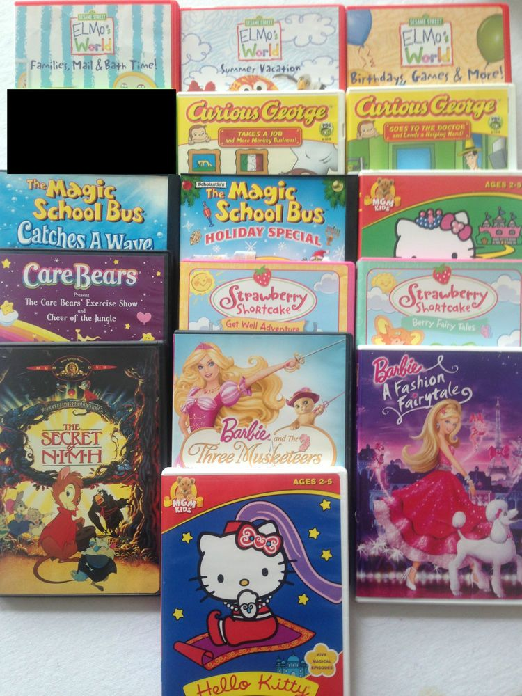 Dvd Lot Of 15 Elmo Curious George Barbie Hello Kitty Magic