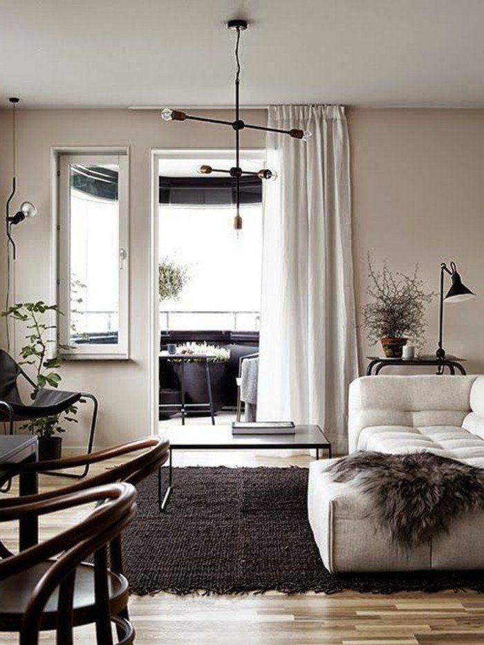 nice d co salon avec quelle couleur associer le gris dans le salon tapis noir et parquette. Black Bedroom Furniture Sets. Home Design Ideas